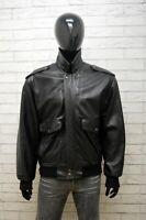 Giacca Uomo Forester Taglia 54 Cappotto Pelle Giubbotto Nero Jacket Man Vintage
