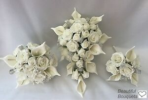 Wedding Flowers Ivory Rose Calla lily Bouquet, Bride, Bridesmaid, Flower-Girl