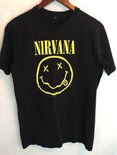 Vintage Nirvana Black 1992 Smiley Happy Face Tee Shirt Small Kurt Cobain Grunge