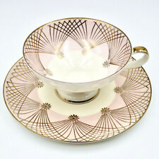 Alka Bavaria Mid Century Modern Cup Saucer Wide Footed Pink Gold 1950's Germany