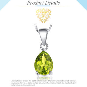 Natural 1.4 ct Peridot Pendant with 925 Sterling Silver Necklace UK Seller