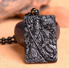 Natural Obsidian Carved GuanGong Sword Lucky Amulet Pendant + Beads Necklace