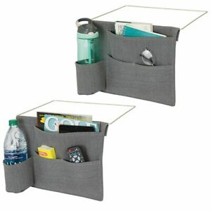 mDesign Fabric Bedside Storage Organizer Caddy, 4 Pockets, 2 Pack - Dark Gray
