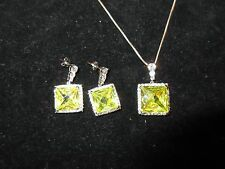 Necklace Earring Set JC 925 Signed Silver Yellow Gemstone Rhinestone Crystal
