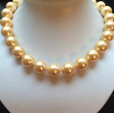 Stunning big 13mm round Golden south sea shell pearl necklace