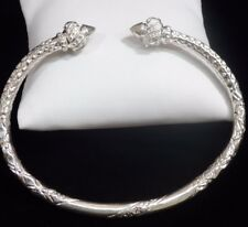 "SINGLE Large Pointy Bold 925 Sterling Silver West Indian Bracelet Bangle 9"" Cuff"