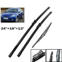 "3Pcs Front Rear Windscreen Wiper Blades Set For Fiat Bravo 2007-2013 24""18""12"""