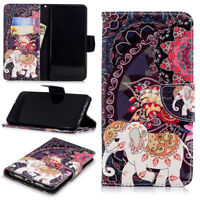For Huawei Smart Phone Elephant PU Leather Flip Wallet Stand Slots Case Cover