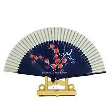 Schöner Fächer Handfächer aus Bambus & Seide blau weiß rot Handarbeit Blumen$