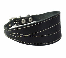 "Black Real Leather Tapered Extra Wide Whippet Dog Collar 2"" Wide, Fits 11.5""-15"""
