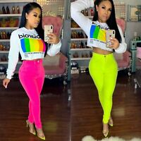 Women Fashion Solid Candy Color Pockets Skinny Long Casual Club Pencil Pants