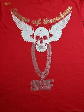 SONGS OF FREEDOM Men's T Shirt Short Sleeve Red Cotton Jeweled Scull & Wings XXL