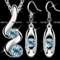 Silver Jewellery Aquamarine Necklace & Earrings Set Women Gifts for Her Xmas B5