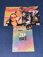 3 Issues of Guitar Player Magazine RUSH King's X Queensryche Frank Zappa RHCP