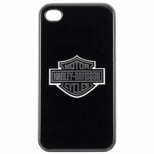 Licensed Harley Davidson Black Hard Shell Case Silver Logo for Apple iPhone 4 4S