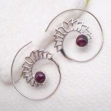 Granat rot rund Spirale Creole Hippie Design Ohrringe 925 Sterling Silber neu