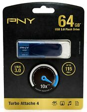 NEW SEALED Attache 4 64GB USB 3.0 Flash Drive Storage P-FD64GTBAT4NB-GE PNY HD