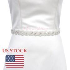 Elegant  Rhinestone Sash Belt Beaded Bride Gown Wedding Dress Crystal Belt Sash