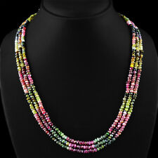 GENUINE 254.15 CTS NATURAL FACETED 3 STRAND WATERMELON TOURMALINE BEADS NECKLACE