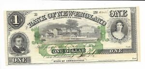$1 Connecticut Bank of New England Goodspeed G16c 18XX Paddle Boat Plate B