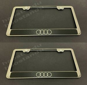 2pc x 4RingAUDILOGO STAINLESS STEEL LICENSE PLATE FRAME -Carbon Fiber Style (UD)