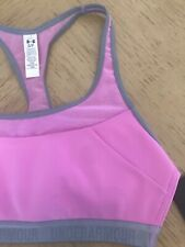 Under Armour Women's Mid Impact Racerback Pink and Gray Mesh Sports Bra S
