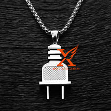 "Stainless Steel Silver Hip Hop Plug Men's Pendant Necklace 3MM 24"" Box Chain"