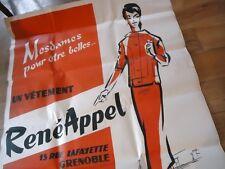 AFFICHE ORIGINAL 1950 MODE RENE APPEL COUTURIER PARIS TROZAR STYLISTE