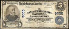 1902 $5 DOLLAR CALIFORNIA NATIONAL BANK NOTE LARGE CURRENCY OLD PAPER MONEY