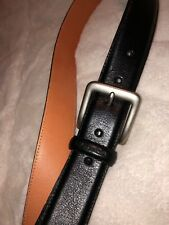 Nautica Black Leather Belt Silver Buckle Formal Causal Size 35-36 Solid