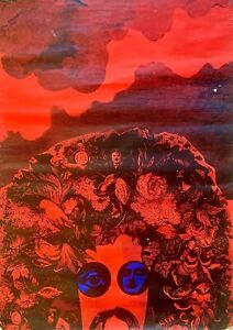 LARGE PSYCHEDELIC POSTER  / FRANK ZAPPA / HAIR / PRINTED IN COPENHAGEN 1968