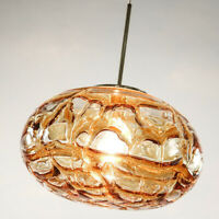 Doria Pendel Leuchte Glas Pille Hänge Lampe Vintage Pendant Light 60-70er Jahre