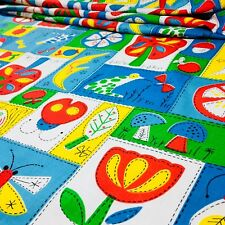 Summer Vacation Squares Kids Fabric Frog Bugs Orange Fish Tree Flowers Quilting