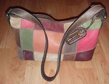 FOSSIL Multicolor Distressed Patchwork Suede/Leather Shoulder Bag Purse