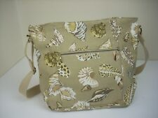 LIZ CLAIBORNE Seashells Handbag Beige Tan 10 x 14 Tote Purse Beach Shells Sea
