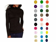 Women Cotton Spandex Long Sleeves Turtleneck T-Shirt Tops Tee Blouse Sweater USA