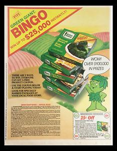 1984 Green Giant Broccoli Spears Bingo Circular Coupon Advertisement