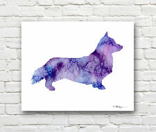 Welsh Corgi Abstract Watercolor Painting Art Print by Artist Dj Rogers