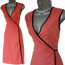 JONES Light Orange Linen Wrap Around Style Midi Dress UK M 12 14 Formal Casual
