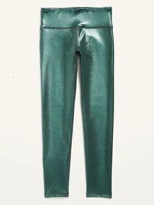 Old Navy Girls Active Elevate athletic legging shimmer green go-dry Large 10-12