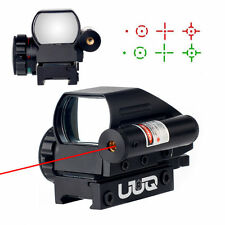 UUQ Tactical Holographic Red/Green Reflex Scope Sight 4 Reticles W/ RED Laser