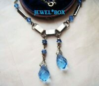 SIGNED ART DECO CZECH Modernist Chrome Blue Crystal Double DROP Vintage NECKLACE