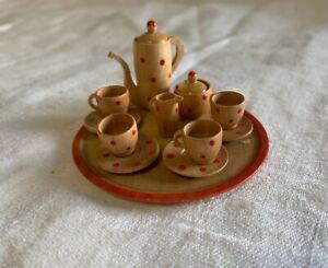 Vintage German Dollhouse Miniature Polka Dot Tea Set