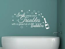 Soak away your troubles with a glass full of bubbles wall sticker