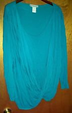 SEVENTH AVENUE SHEER TWIST FRONT 2FER TANK TOP & BLOUSE ONE PIECE TEAL PLUS 3X