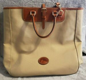 Dooney & Bourke Khaki Leather Trimmed Editor's Tote