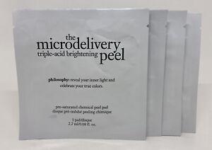 PHILOSOPHY MICRODELIVERY TRIPLE ACID BRIGHTENING PEEL 4 CHEMICAL PEEL PADS NEW!