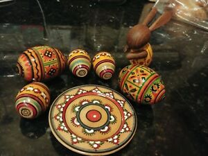 Wooden Easter Eggs plate and bunny hand painted detailed set of 7  Ukrainian