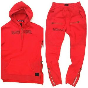 ROCKSTAR SUSHI BIKER SWEAT SUIT SET TOP & BOTTOM RED