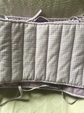 Girls zadpoles purple & White Gingham Block Quilt Nursery Baby Bed Bumper Pads